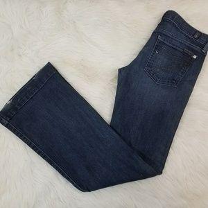 7 FAM Dojo Dark Wash Flare Denim Jeans Sz 27